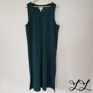 Vintage Talbots Dress Long Green Overall Buttons